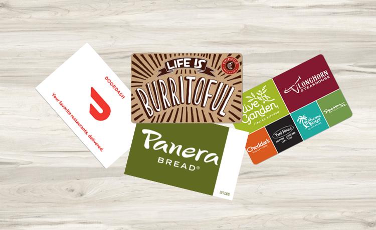 Restaurant Gift Cards For Teachers