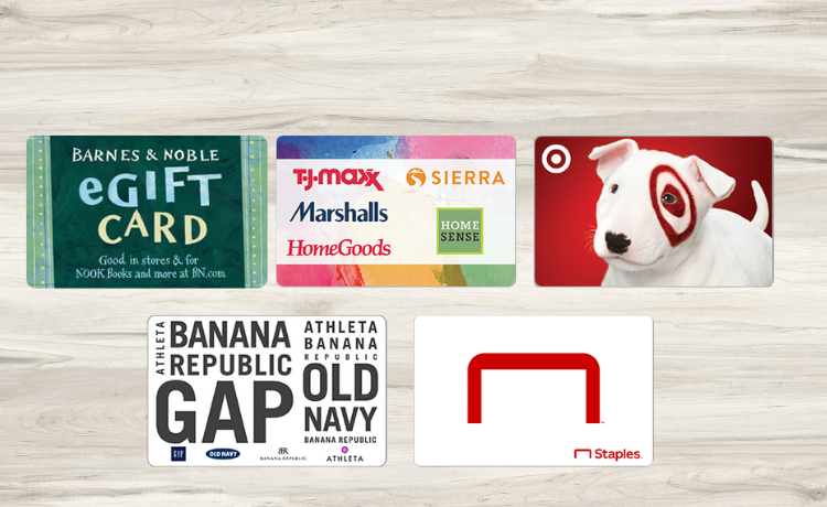 Retail Gift Cards for Teachers